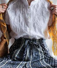 【Seek nur】Embroidery Mao collar White Blouse