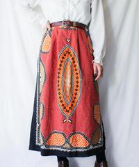 【Seek nur】Scarf Pattern Long Skirt