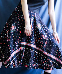 【Seek nur】Euro Flower Black Flare Dress