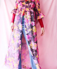 【tiny yearn】1970's Flower Frill Sheer Gown