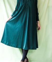 【tiny yearn】Dark Green Flare Shirt Dress