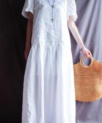 【Seek nur】White Linen Long Dress