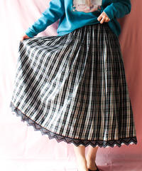【tiny yearn】Euro Pleats Check Flare Long Skirt