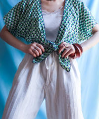 【tiny yearn】1970's Flower Tiefront Shirt