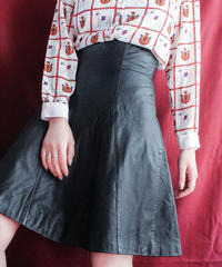 【Seek nur】High waist Leather Flare Skirt