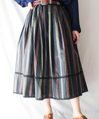 【Seek an nur】Euro Mulch Stripe Flare Skirt