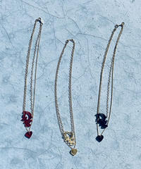 【Sway】<Dig and Heart> double chain necklace