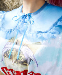 【Original】Organdie attached collar/Blue