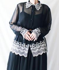 【Seek an nur】France Embroidery Sheer Long Blouse