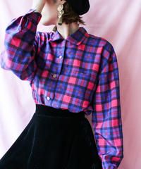 【tiny yearn】Over Check Pattern Blouse