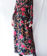 【Seek nur】Velour collar Rose Long Dress