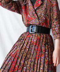 【Seek nur】Oriental Pattern Pleats Dress