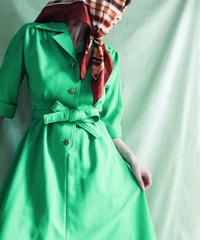 【tiny yearn】70's Open coller Shirt Flare Dress