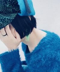 【Sway】<Black green flower x Blue> Flight cap