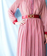 【tiny yearn】Houndstooth Check Pleats Shirt Dress
