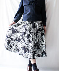 【Seek nur】Clock tower Art pattern Skirt