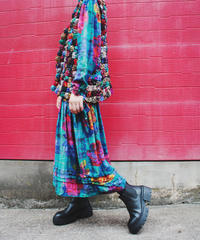 【tiny yearn】India Flower Check Dress
