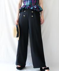 【Seek an nur】Button Design Black Wide Pants