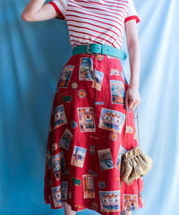 【tiny yearn】 Picture Pattern Flare Skirt