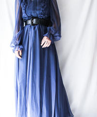 【Seek nur】W-Germany Frill Sheer Maxi Dress