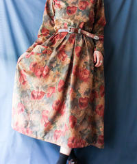 【Seek nur】Flower Velour Handmade Dress