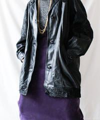 【Seek nur】Italy Black Leather Long Jacket