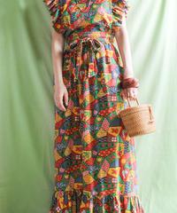【tiny yearn】1970's Patchwork Print Apron Dress