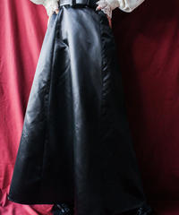 【Seek nur】Black Satin Flare Long Skirt