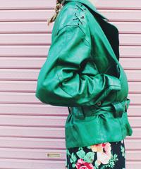【tiny yearn】Euro Green Leather Jacket