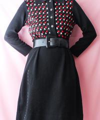 【tiny yearn】Square Design Black Knit Dress