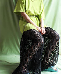 【tiny yearn】Lace Pleats Wide Pants