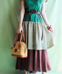 【tiny yearn】Bicolor Green Check Dress