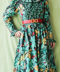 【tiny yearn】Big Collar Leaf Pattern Cotton Dress
