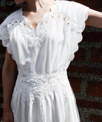 【Seek an nur】Cutwork Lace White Dress