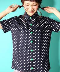 スノウピーのまるえり定番台襟シャツ♡ネイビー水玉