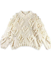 Pompon heart knit