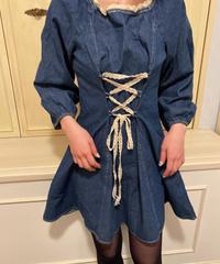 lace ribbon denim one-piece