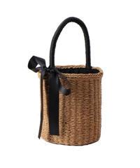 black ribbon basket bag