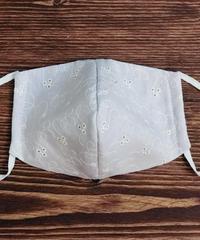 クール立体マスク*パープル刺繍生成り(大人サイズL)