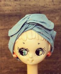 ワイヤーターバン*cotton刺繍の星ライトブルー