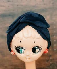 ワイヤーターバン*cottonブラック 水玉