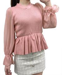 袖シフォンペプラムニット:4色展開