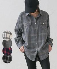 チェック起毛オーバーサイズシャツ:4色展開