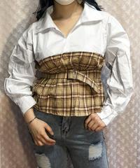 チェックビスチェドッキングシャツ:3色展開