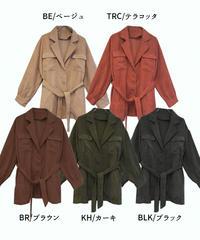 コーデュロイウエストベルトシャツジャケット:5色展開