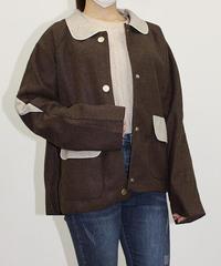 丸襟配色ジャケット:2色展開
