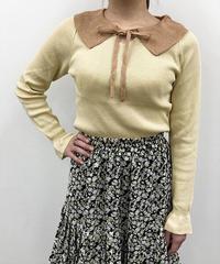 襟リボン配色ニット:2色展開