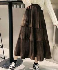 ベロアプリーツティアードスカート:3色展開