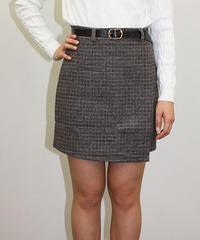 ベルト付きチェック柄ラップ風スカート:3色展開