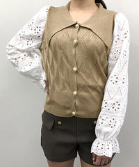 袖レース襟付ニット:3色展開